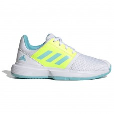 ADIDAS COURTJAM XJ FX1489 WHITE/SKY/YELLOW JUNIOR TENNIS SHOE