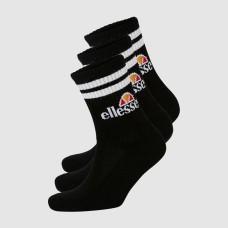ELLESSE PULLO SOCK 3PACK BLACK SIZE 6-8.5 US