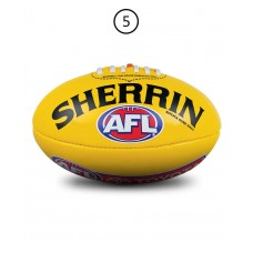 SHERRIN AFL PVC REPLICA SIZE 5 YELLOW BALL