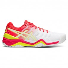 ASICS GEL RESOLUTION 7 E751Y-116 WHITE/LASER PINK TENNIS SHOE